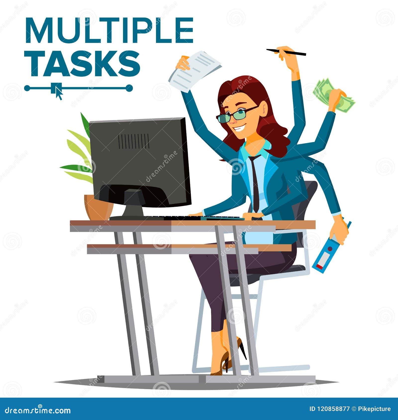 Le multiple charge le vecteur de femme d affaires Beaucoup de mains simultanément Profession financière Travailleur doué Bande de