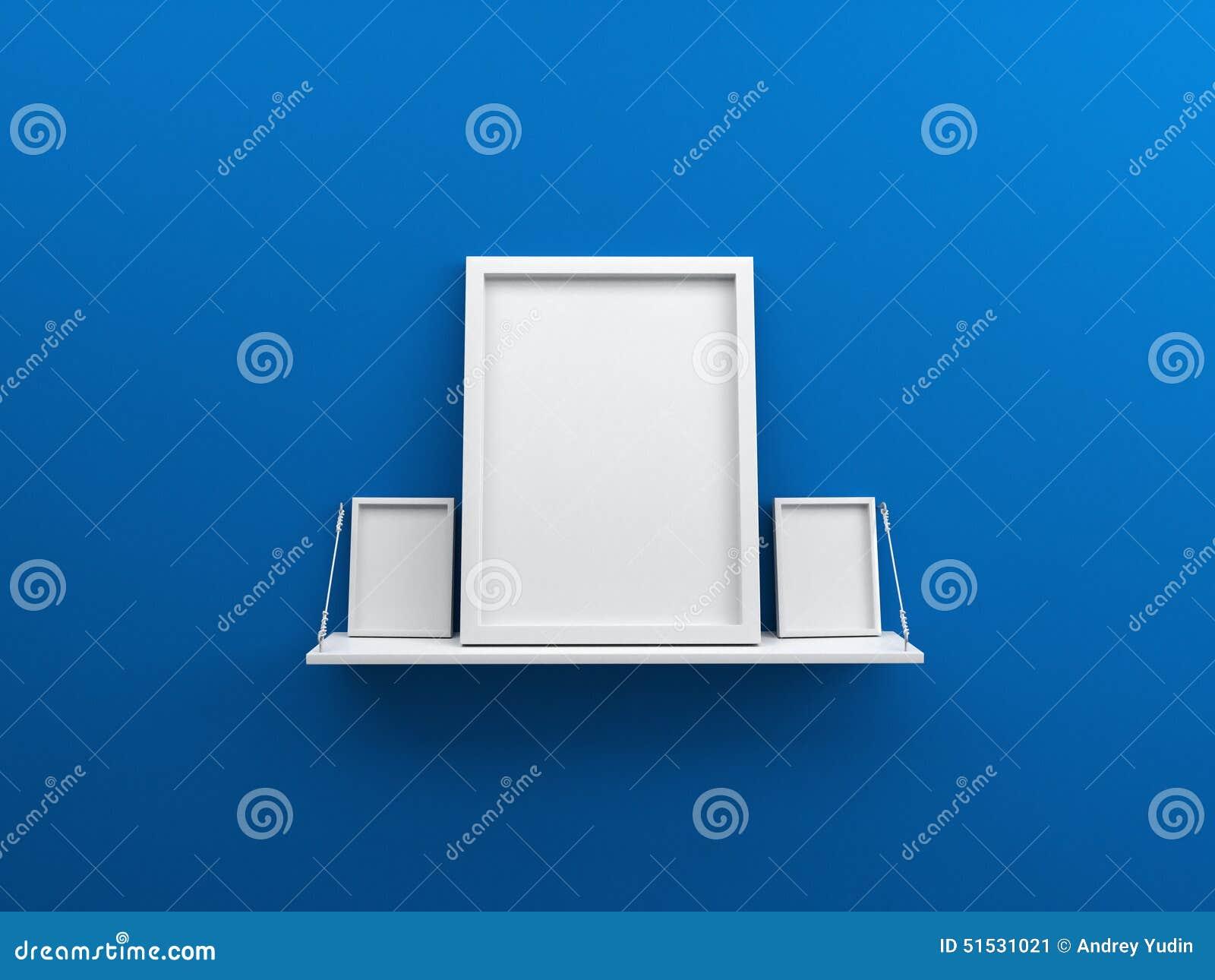 Le mur bleu avec l étagère et la photo vide d affiche encadrent 3d
