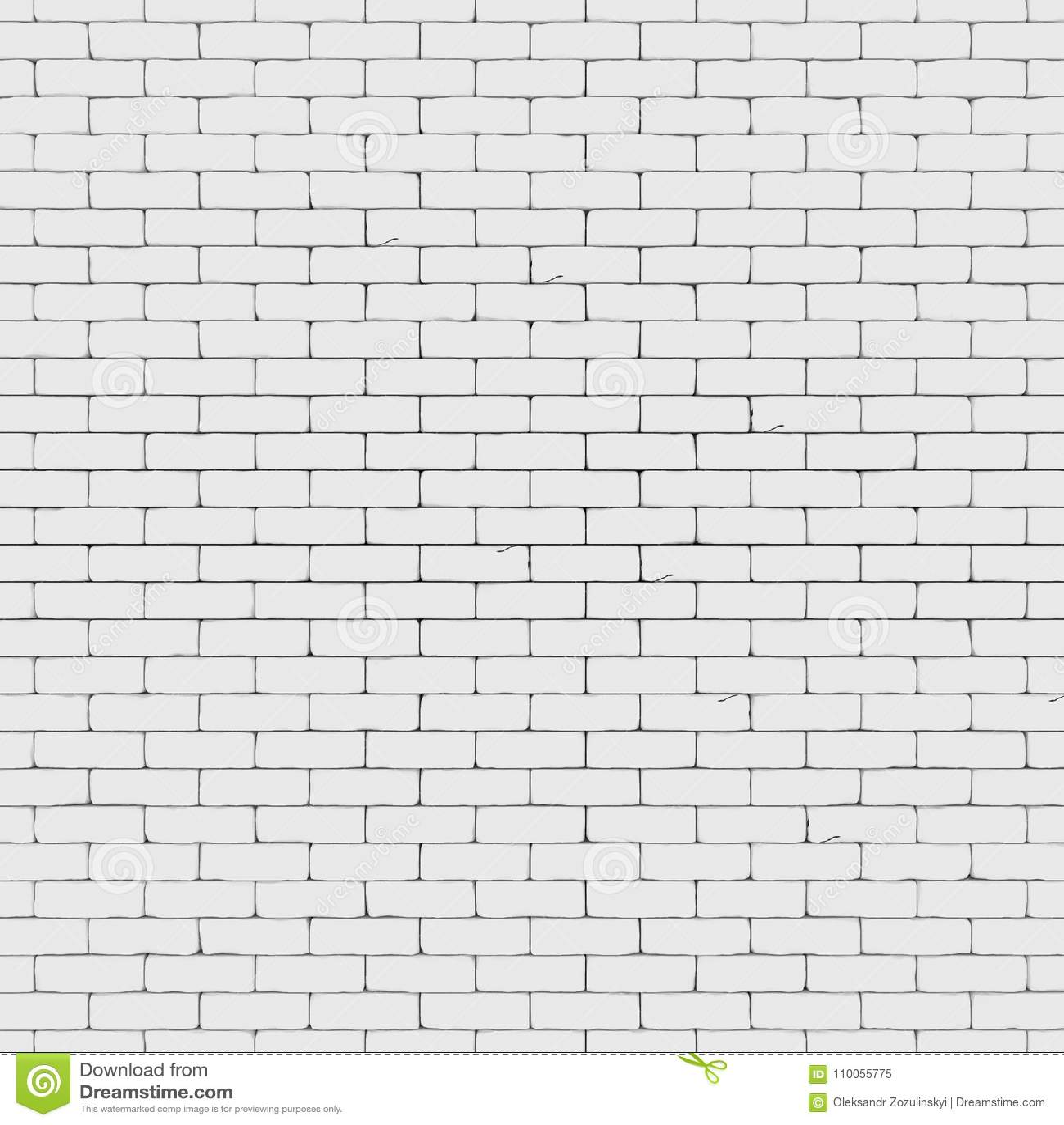 Le mur de briques blanc 3D rendent