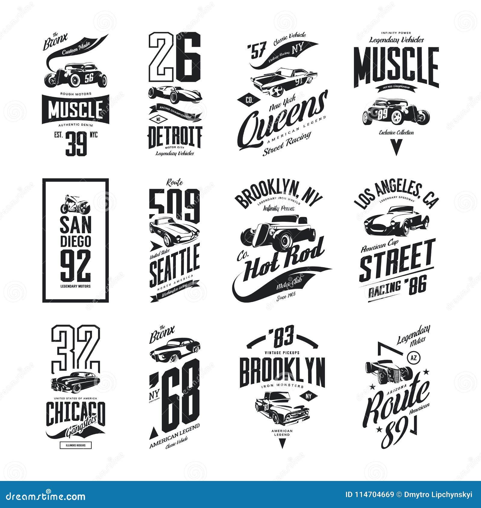 Le muscle de vintage, le roadster, le hot rod et le logo classique de T-shirt de vecteur de voiture ont isolé l ensemble
