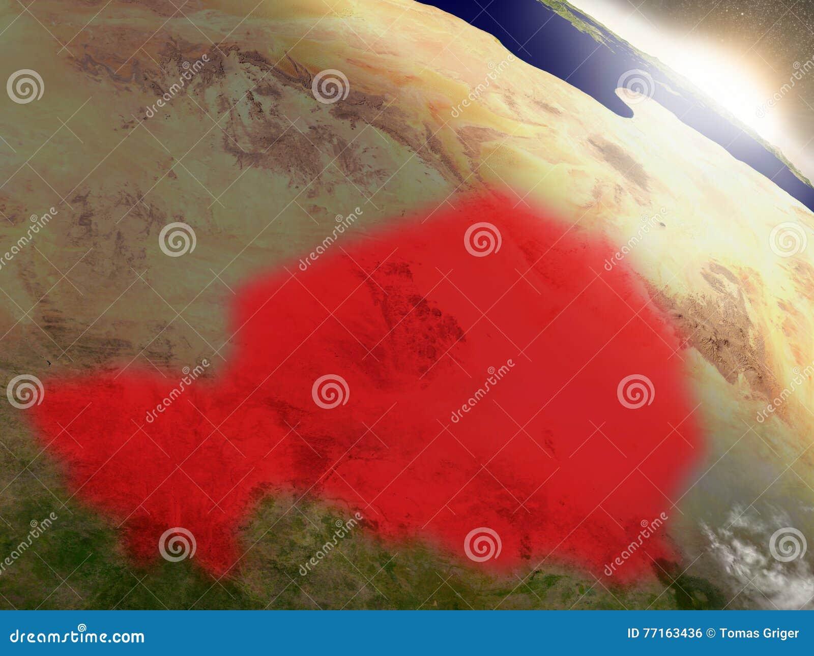 Le Niger de l espace accentué en rouge