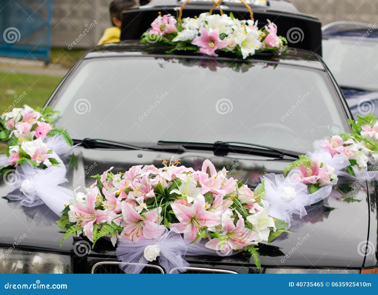 le noir a d 233 cor 233 la voiture de mariage photo stock image 40735465