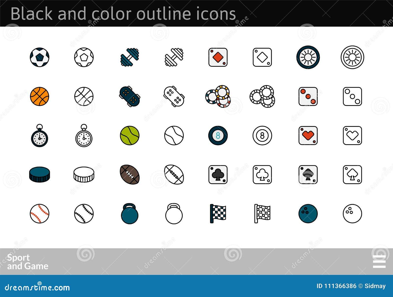 Le noir et la couleur décrivent des icônes, ligne mince conception de course de style