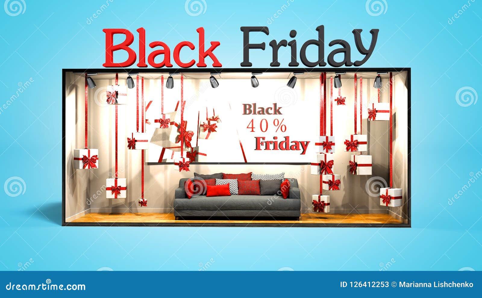 Le noir moderne vendredi de concept dans le magasin avec des cadeaux et les remises 3D rendent sur le fond bleu avec l ombre