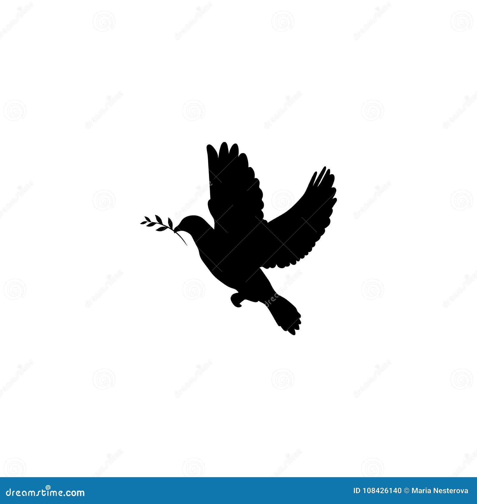 Le noir a plongé avec l icône olive de brin d isolement sur le blanc Symbole de paix Signe international de jour de paix