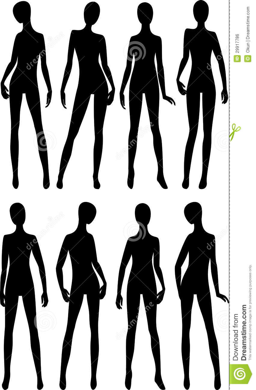 Fashion model body sketch template