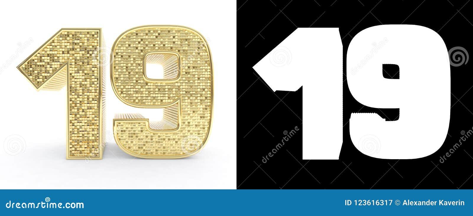 Le nombre d or dix-neuf numéro 19 sur le fond blanc avec l ombre et le canal alpha de baisse illustration 3D
