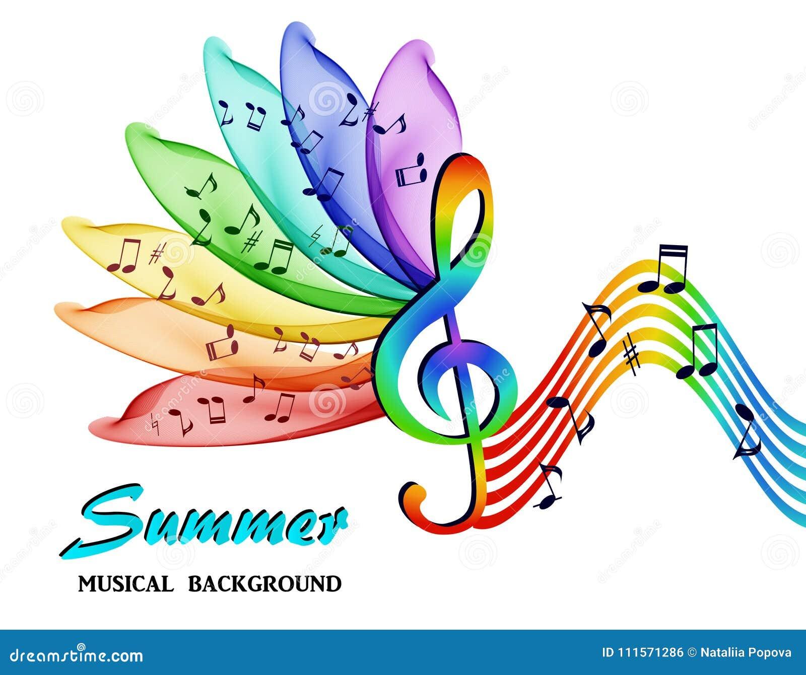 Le note musicali su un fondo di un arcobaleno astratto fioriscono