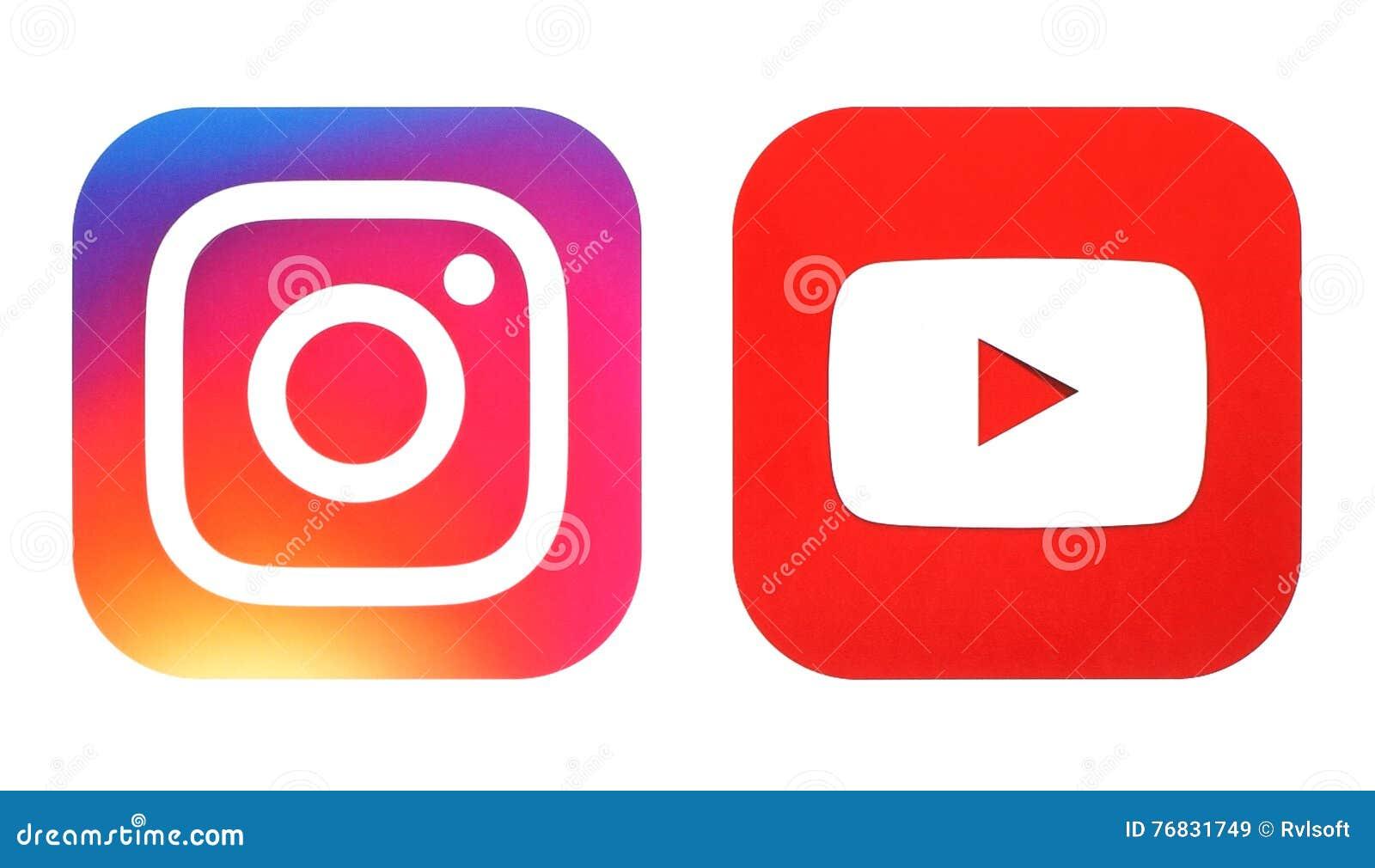 Le nouveaux logo d Instagram et icône de Youtube ont imprimé sur le livre blanc
