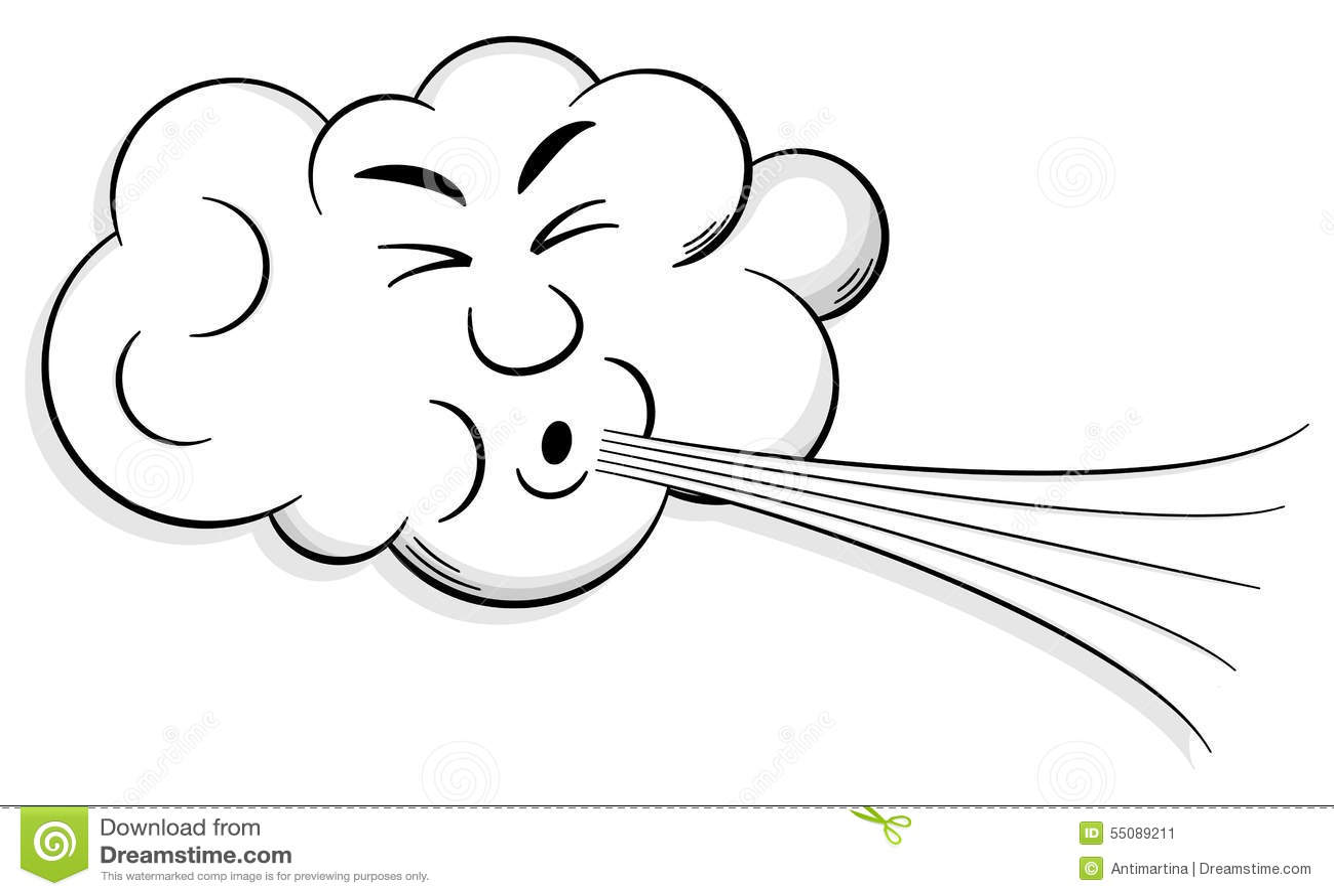 Le nuage de bande dessin e souffle le vent illustration de - Nuage qui souffle ...