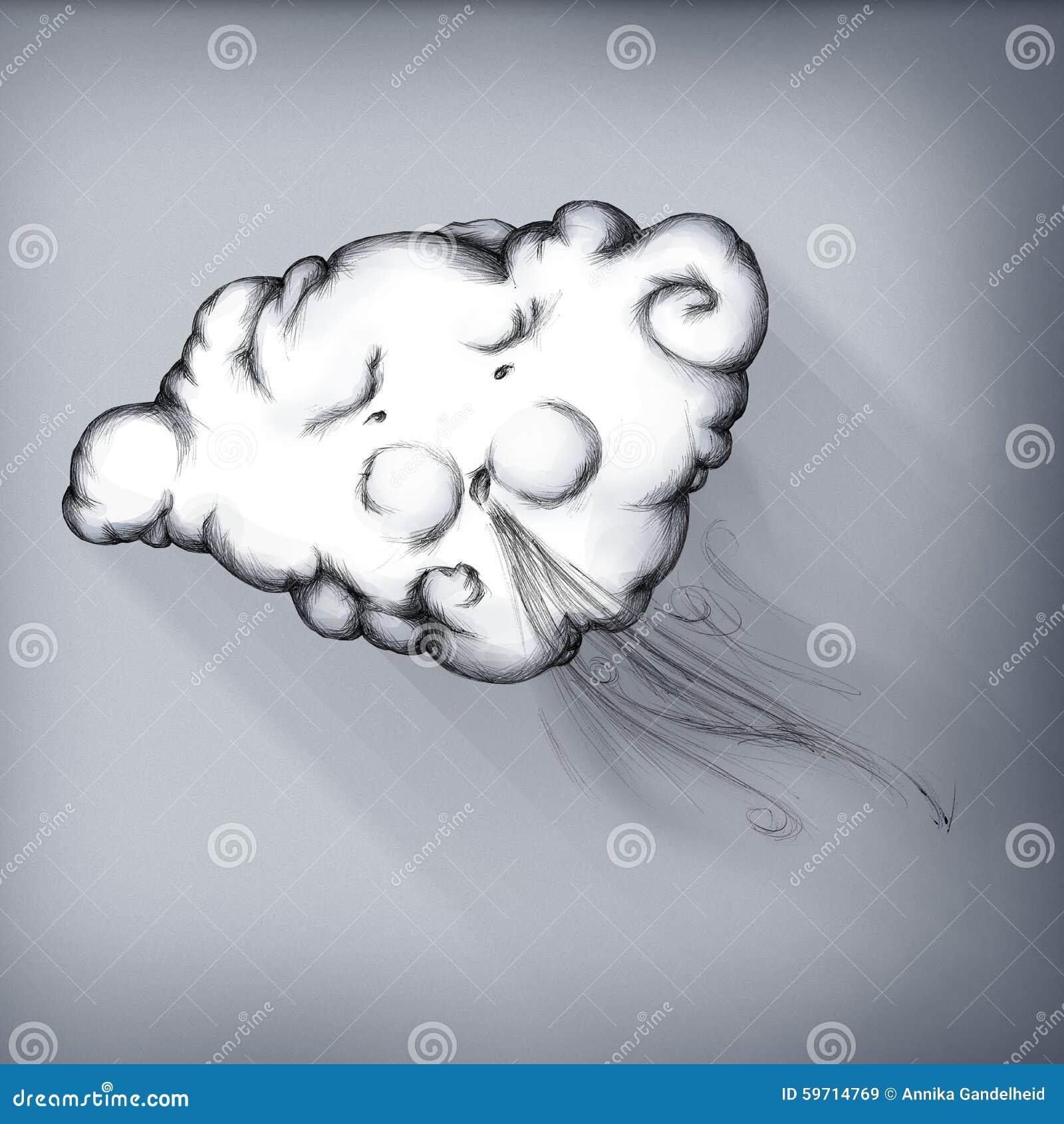 Le nuage souffle le vent illustration stock image 59714769 - Nuage qui souffle ...