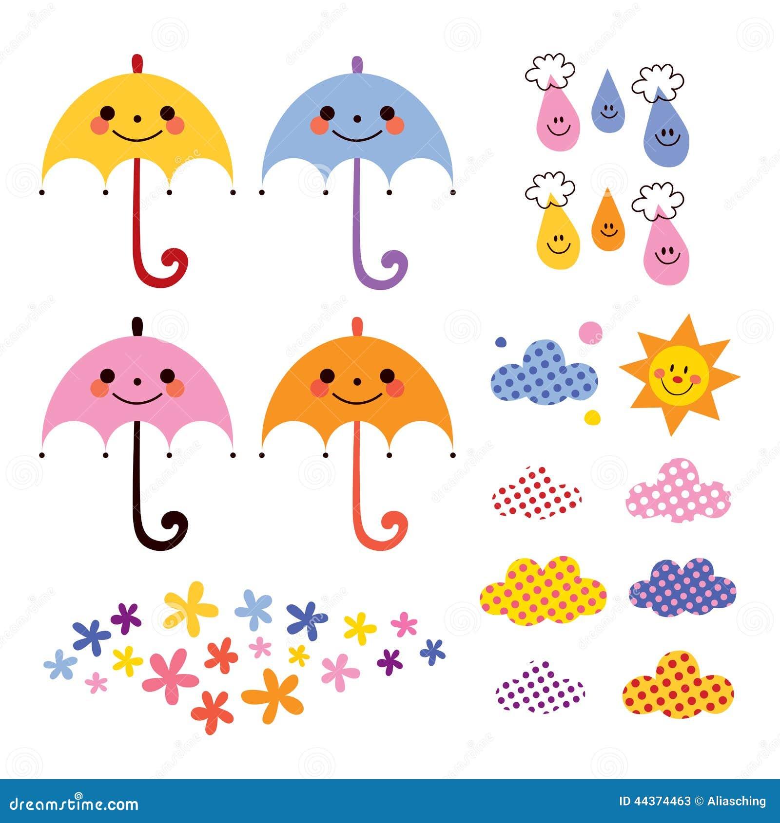 Le nuvole sveglie dei fiori delle gocce di pioggia degli ombrelli progettano l insieme di elementi