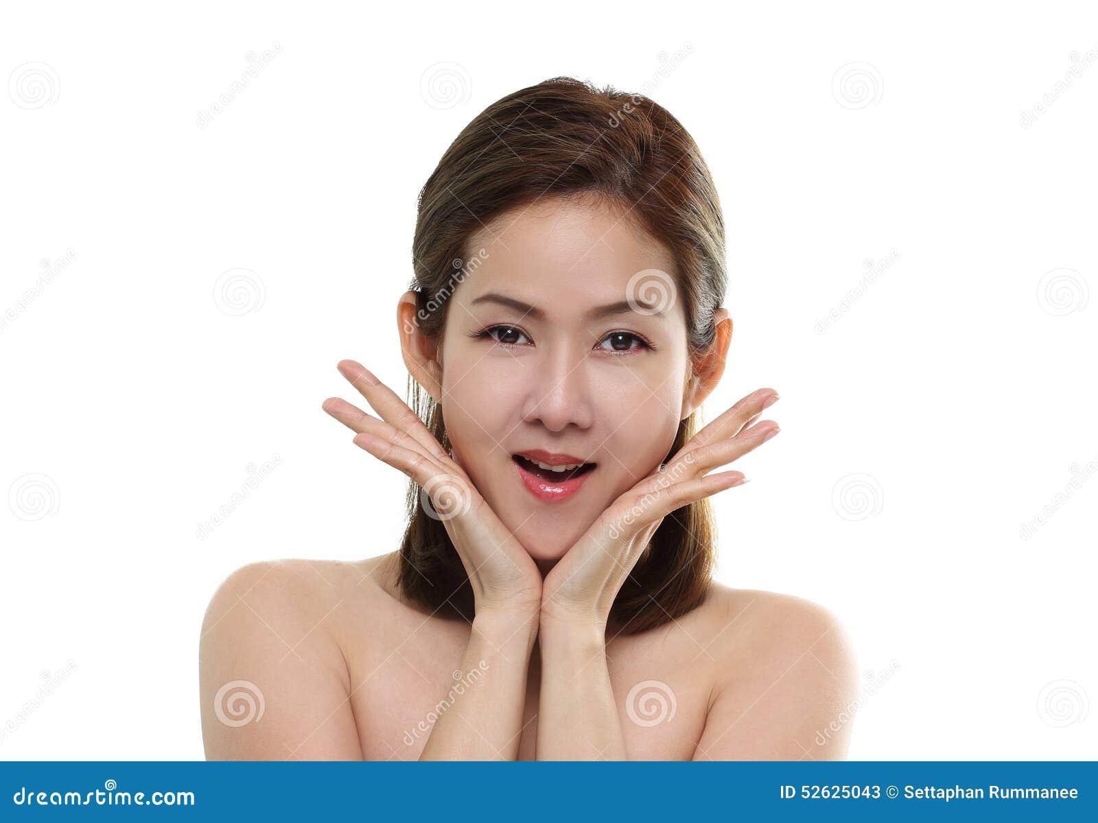 Le och överraskning för härliga kvinnor asiatiskt lyckligt med bra sunt av hud din isolerade framsida