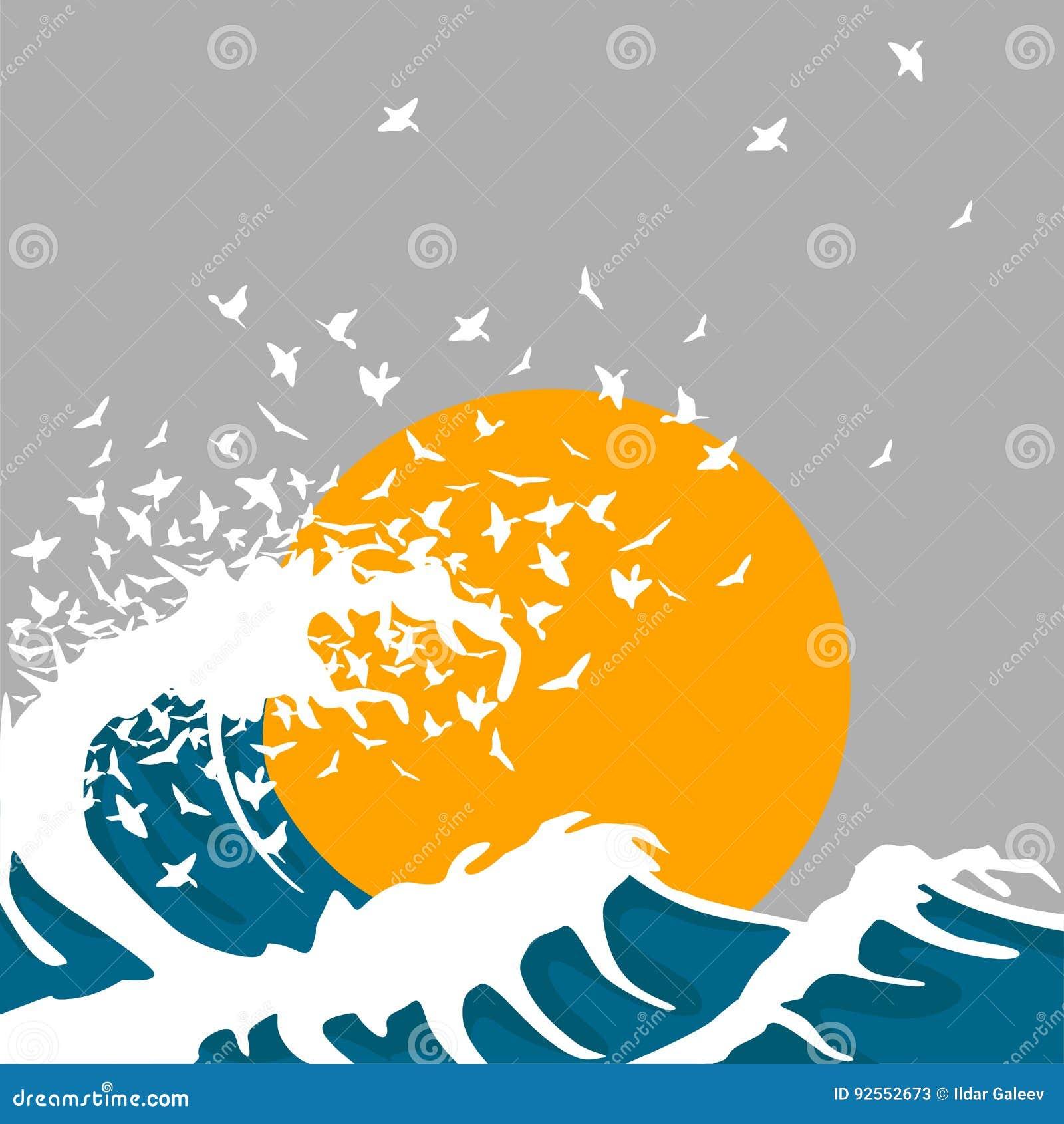 Le onde enormi si trasformano negli uccelli Modello per il manifesto di concerto