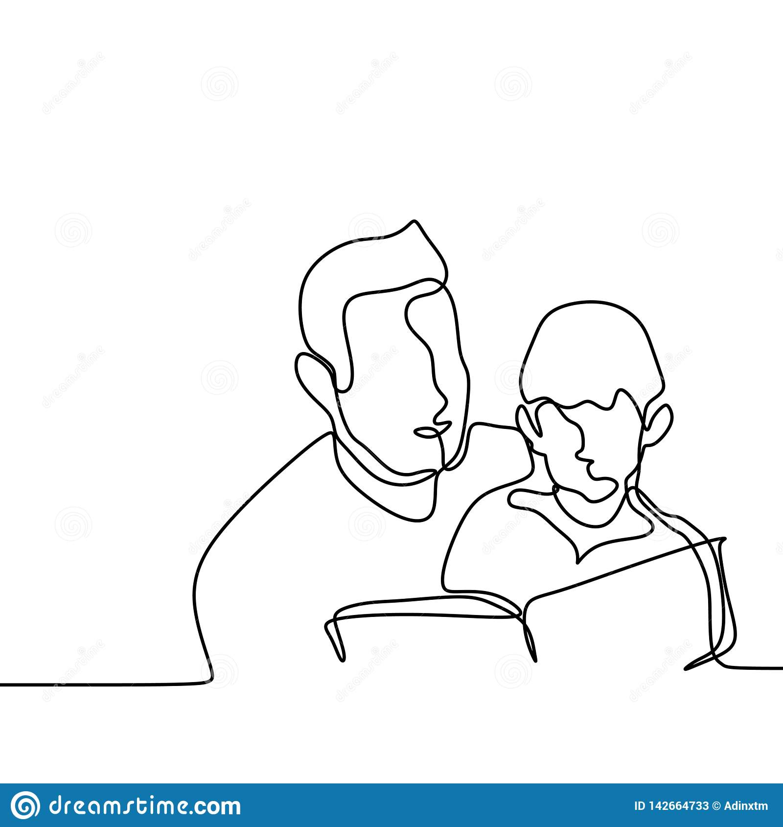 Le Pere Et Son Fils Ont Lu Simple Continu Illustration Livre
