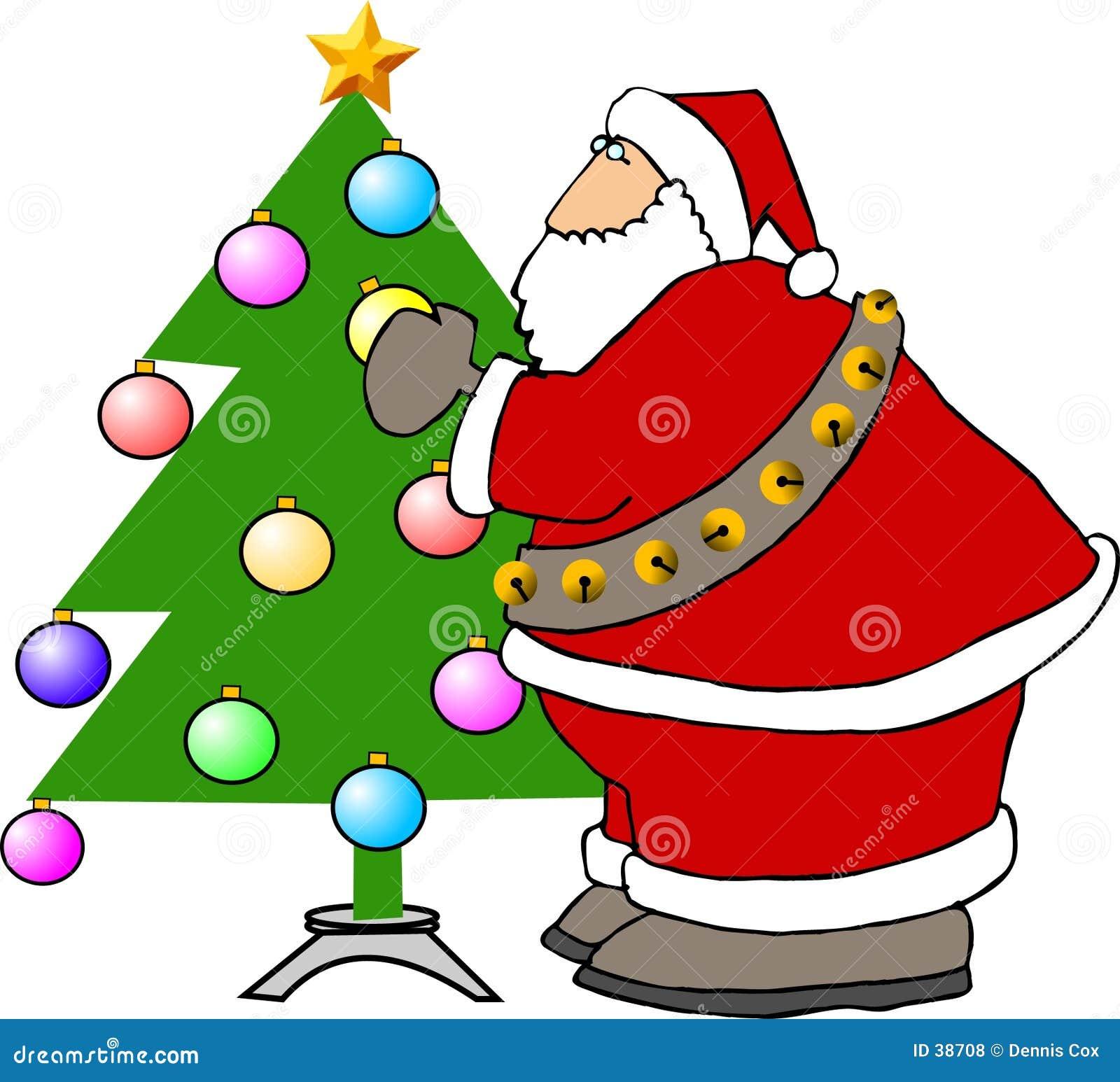 Le père noël décorant un arbre de Noël