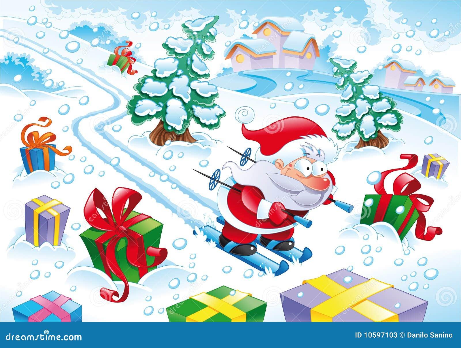 Le père noël dans la neige