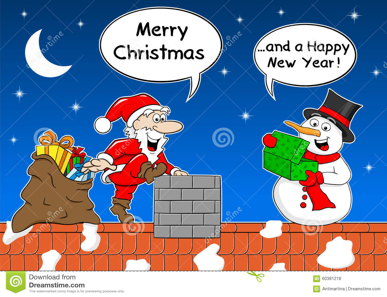 Le Père Noël Donne Un Cadeau à Un Bonhomme De Neige à Noël