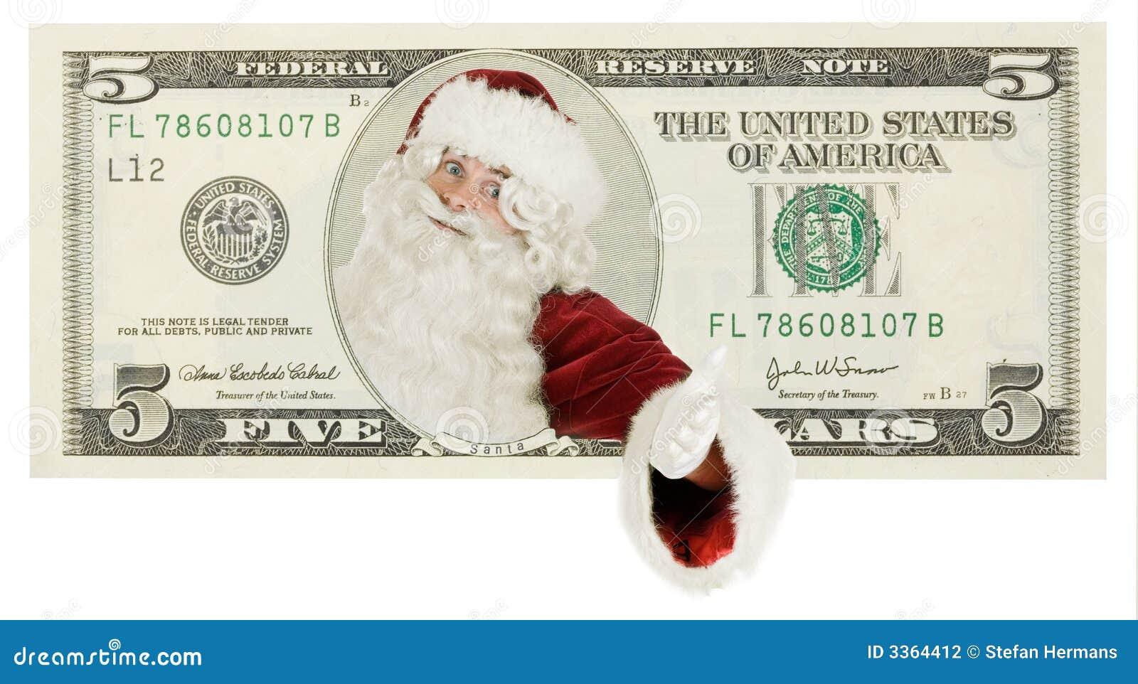 Le père noël sur le billet de banque du dollar