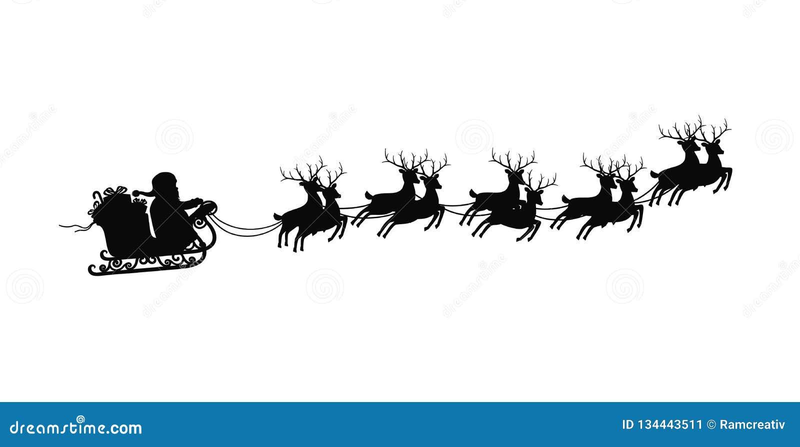 Le Père Noël Sur Le Traîneau Avec Des Rennes Sur Sur Le Fond