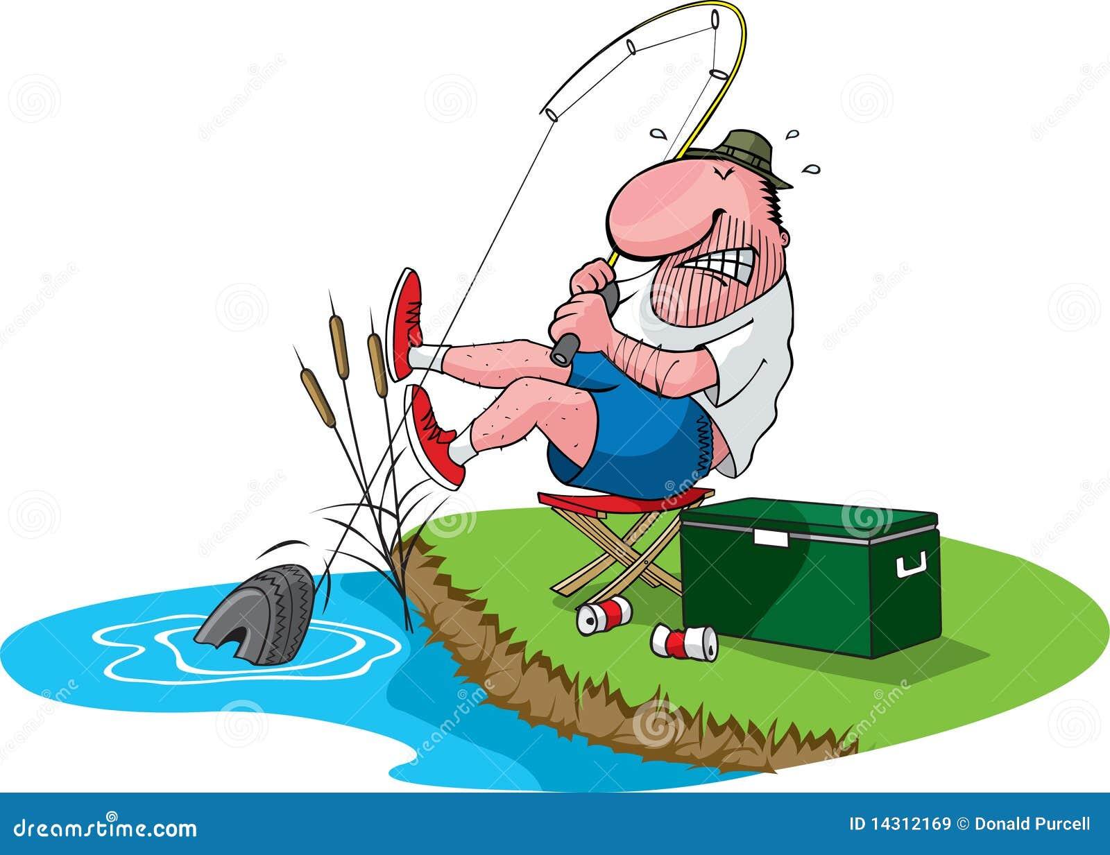 Le p cheur attrape le pneu illustration de vecteur - Caricature gratuite en ligne ...