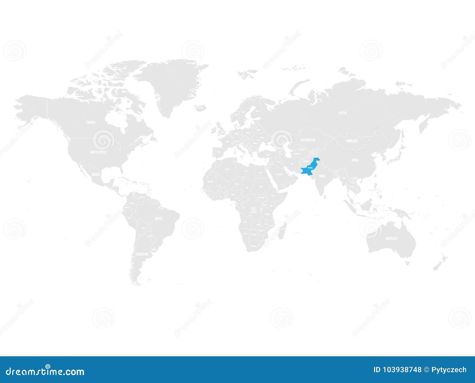 Le Pakistan A Marque Par Le Bleu Dans La Carte Politique Du Monde Gris Illustration De Vecteur Illustration De Vecteur Illustration Du Monde Carte 103938748