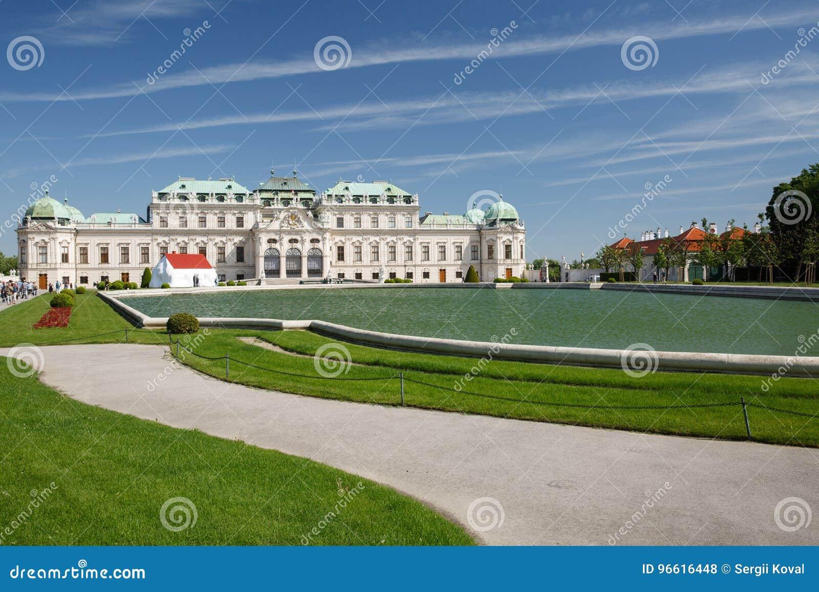 Le palais de belvédère et l étang, Vienne, Autriche