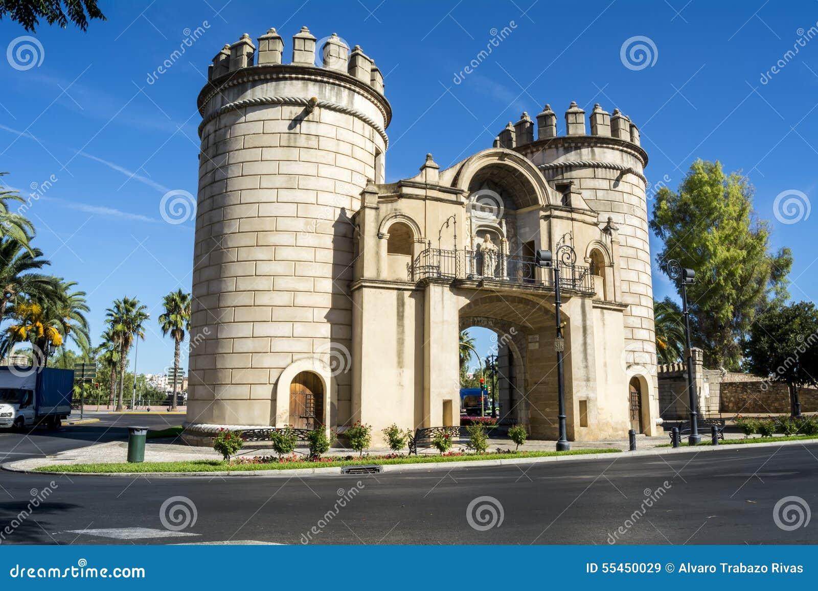 Le palme Gate, rotonda del monumento (Puerta de Palmas, Badajoz), PS