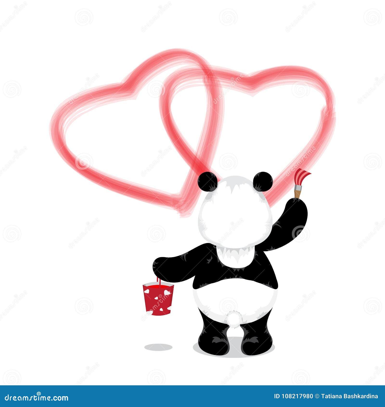 Le panda se tient avec un seau de peinture et d une brosse et dessine deux re