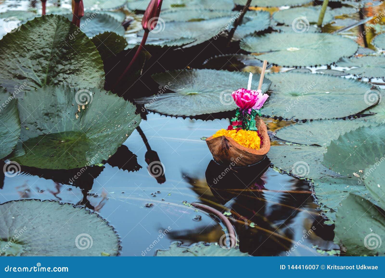 """Le panier de flottement ou le """"Krathong """"dans le mot thaïlandais, flotte sur l étang de lotus"""