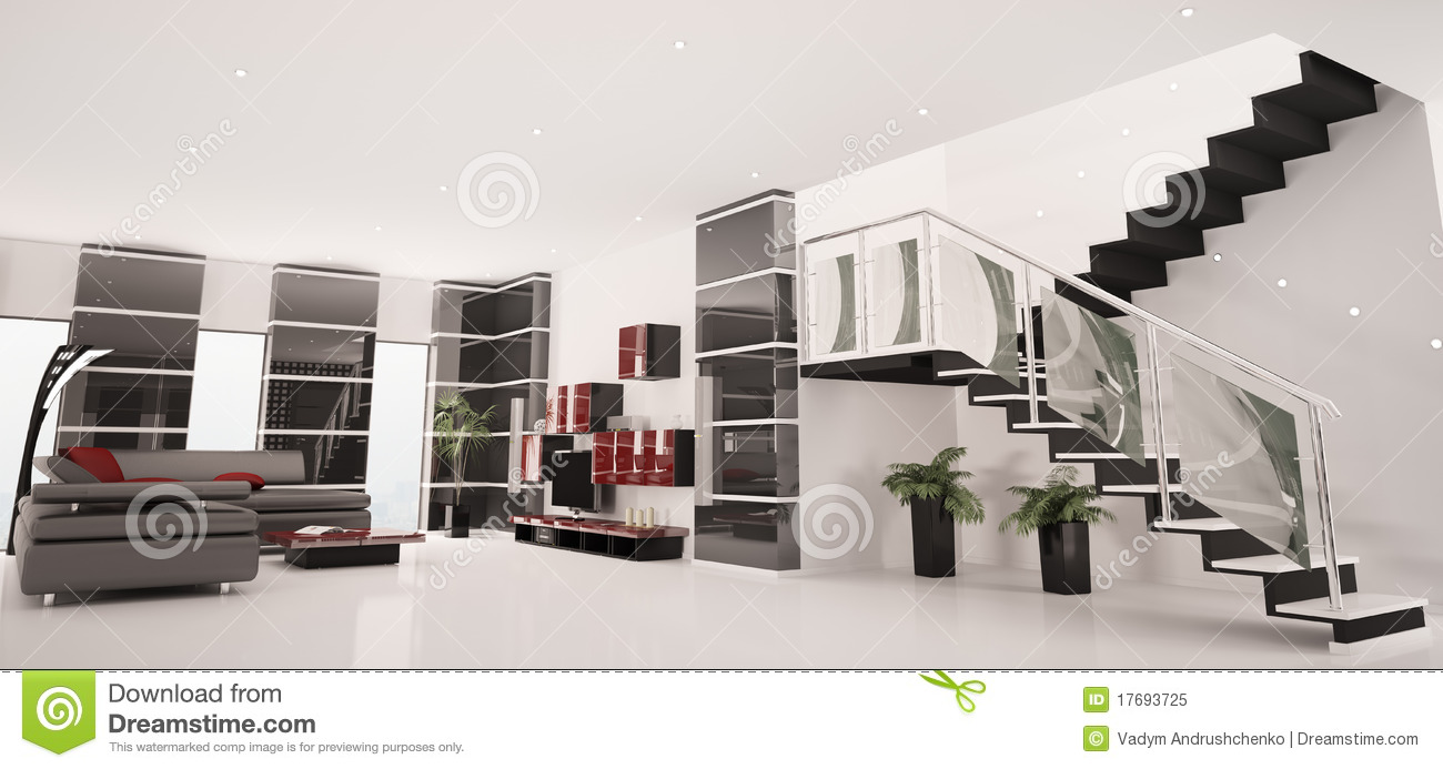 Le panorama int rieur 3d d 39 appartement moderne rendent photo libre de dro - Interieur appartement moderne ...