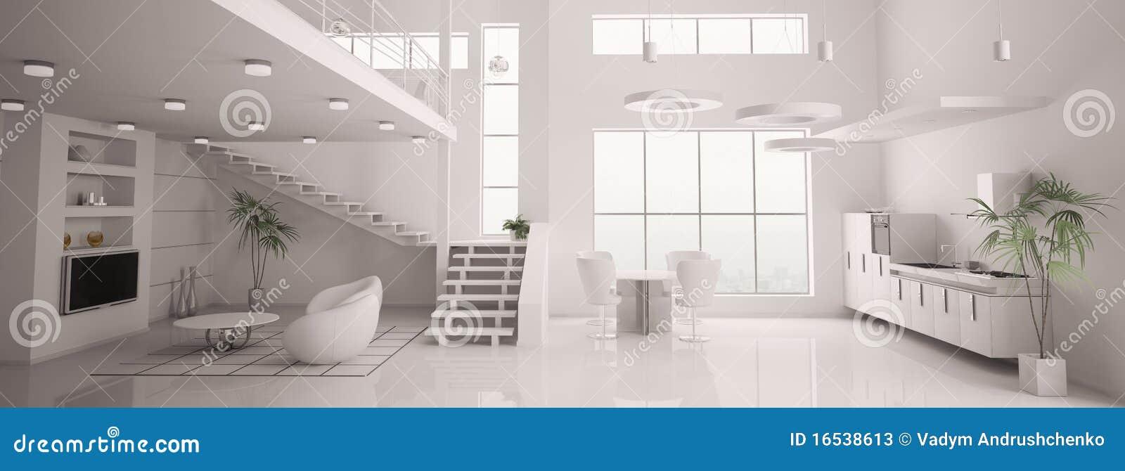 le panorama int rieur moderne blanc 3d rendent photos