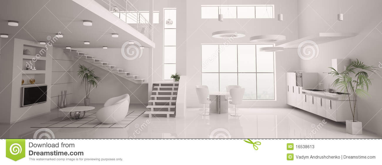 Le panorama int rieur moderne blanc 3d rendent photos stock image 16538613 - Interieur appartement moderne ...