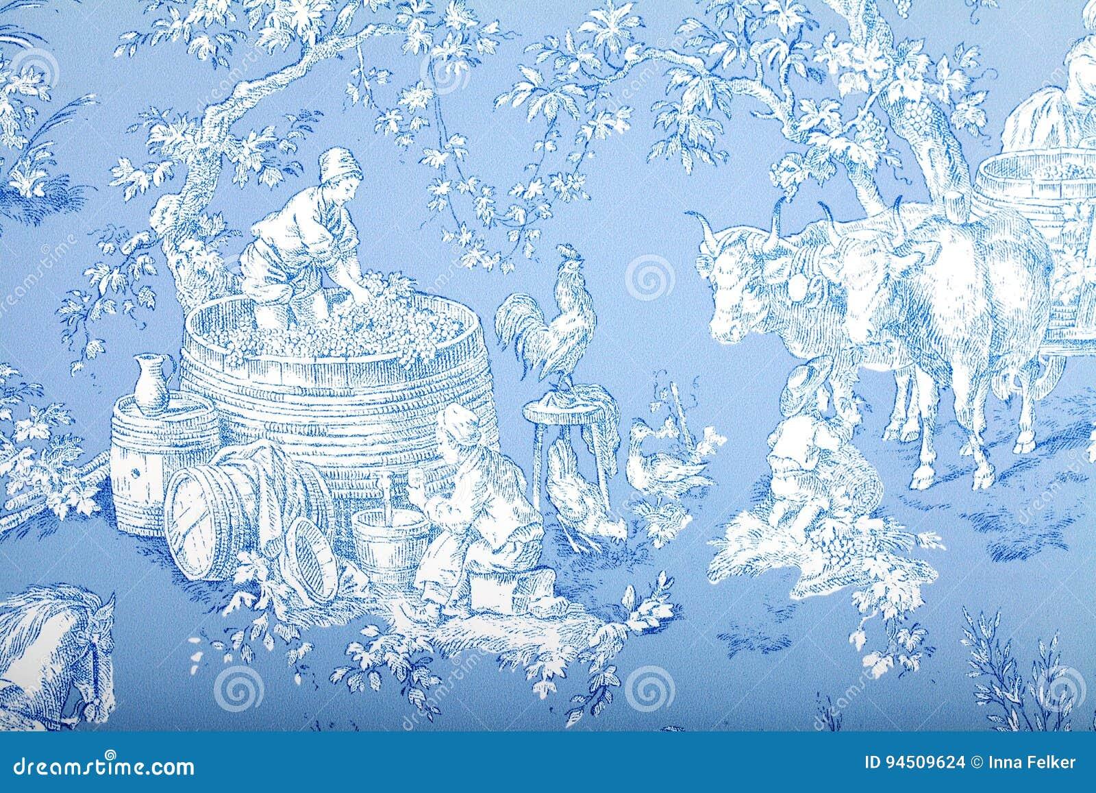 Le Papier Peint Baroque Francais Bleu Et Blanc Antique De Modele