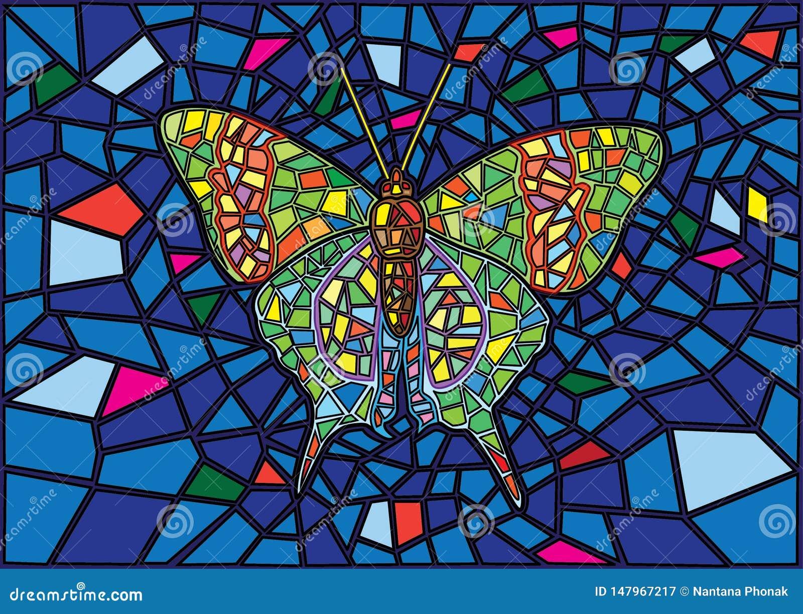 Le papillon a souillé le fond en verre de tache floue de mosaïque