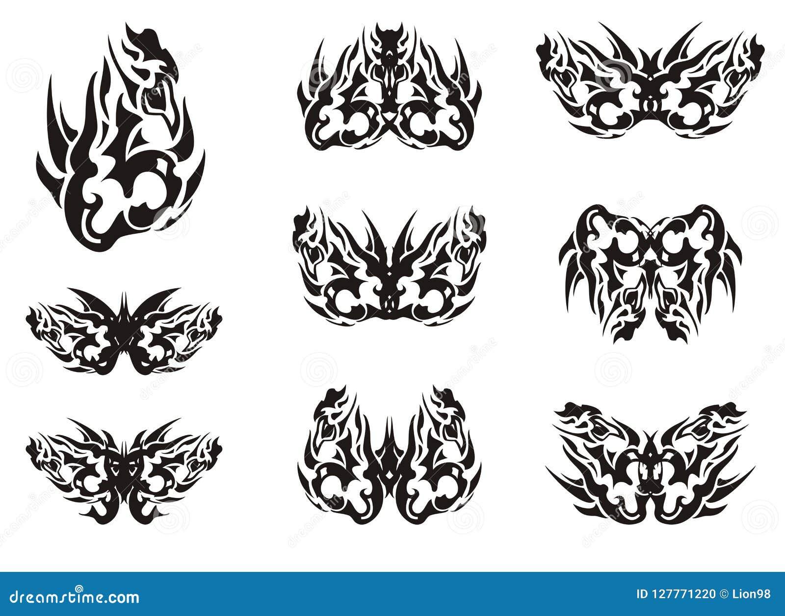 Le Papillon Tribal Noir Et Blanc S Envole Des Tatouages Illustration