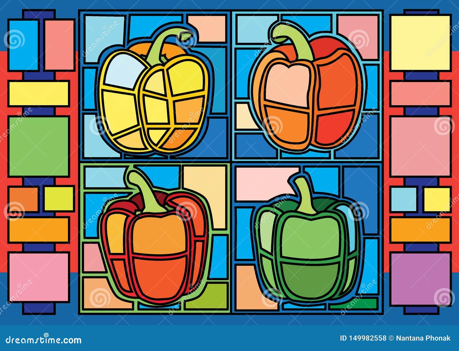 Le paprika Moïse a souillé le verre et est un verre de mosaïque qui est employé pour décorer une image d une porte de fenêtre
