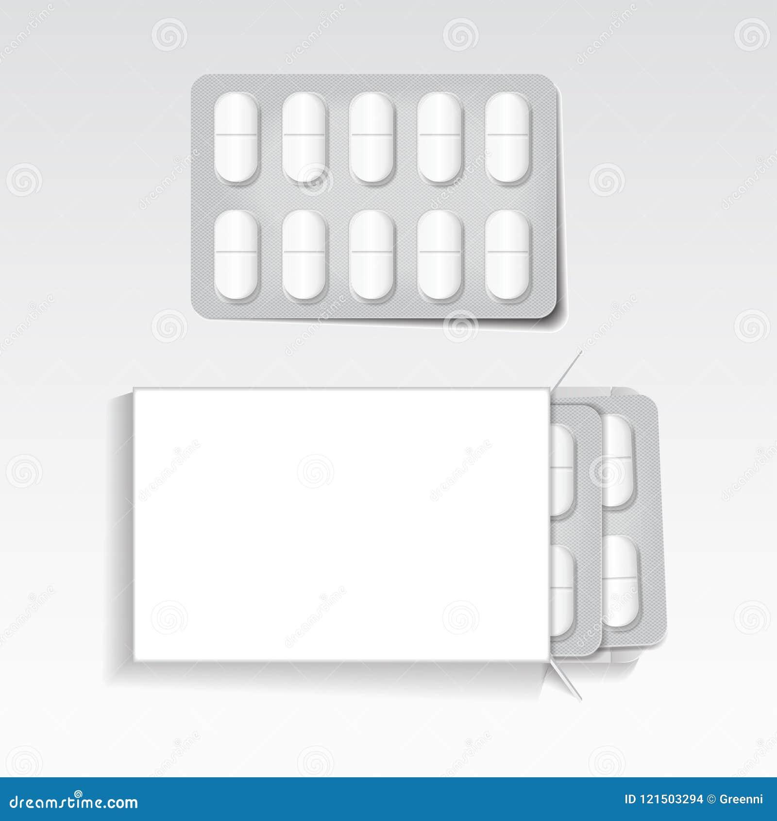Le Paquet Blanc Avec Les Comprimés Ovales,