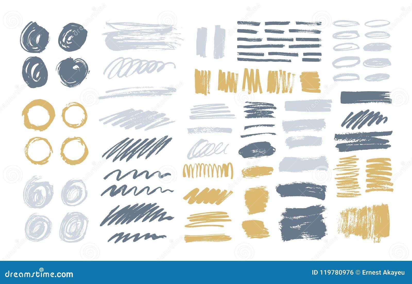 Le paquet de courses colorées de brosse, peinture trace, tache, des calomnies, taches, griffonnage d isolement sur le fond blanc