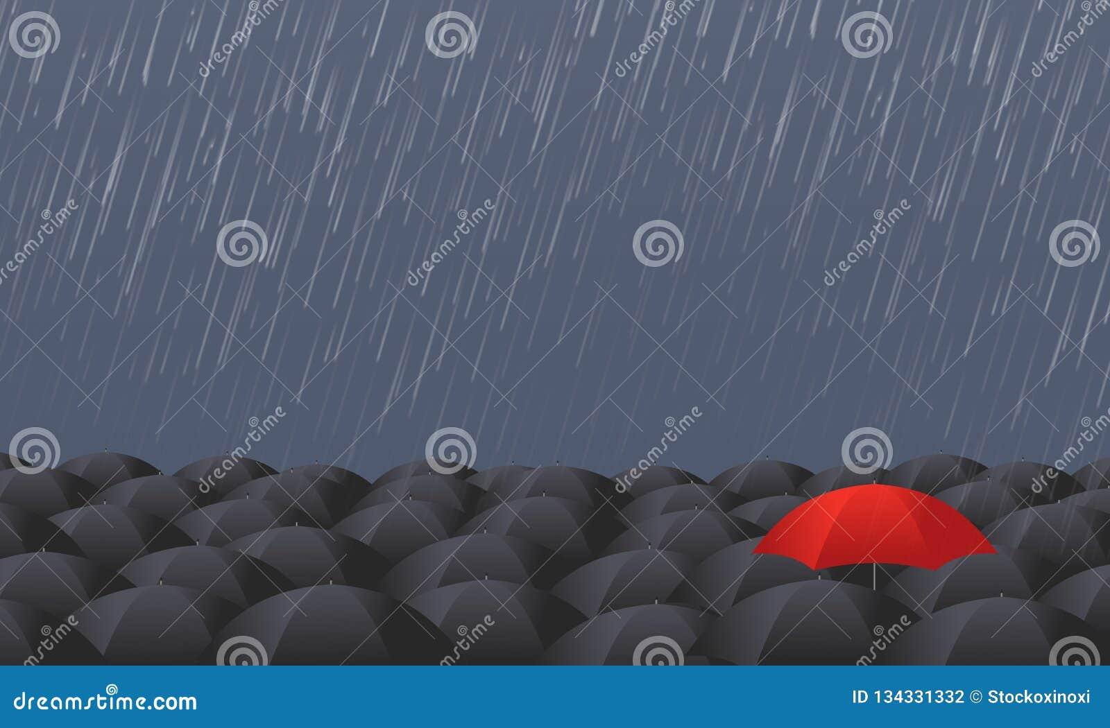 Le parapluie rouge se tiennent de la foule grise