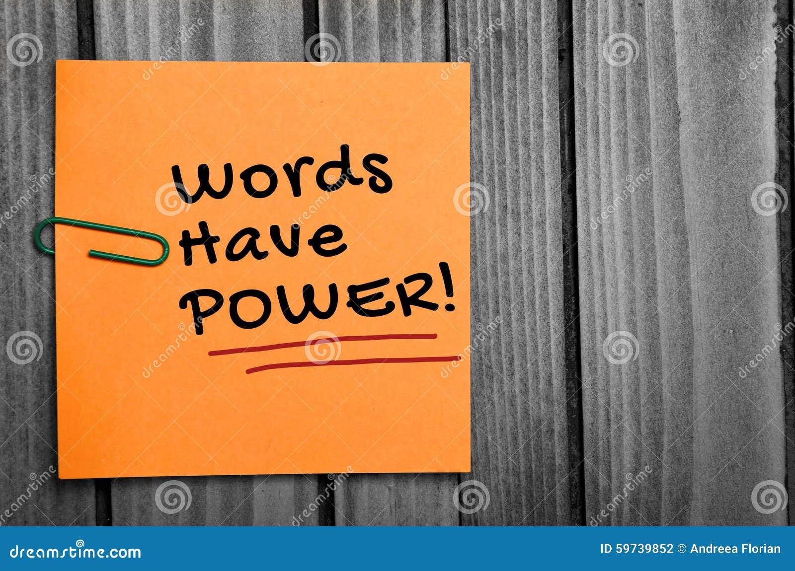Le parole hanno parola di potere