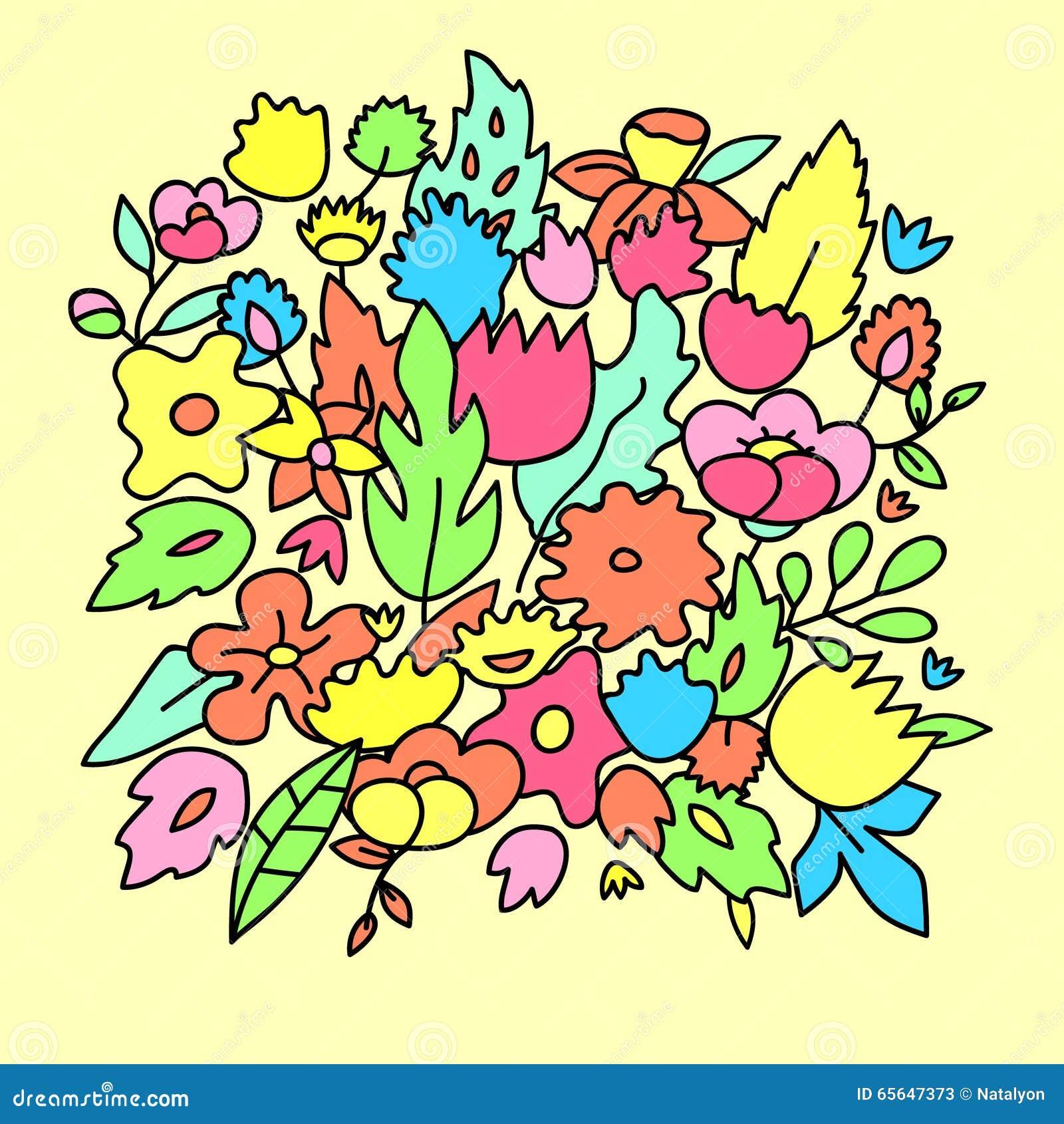 Le pastel mignon puéril a coloré des fleurs, calibre de vecteur