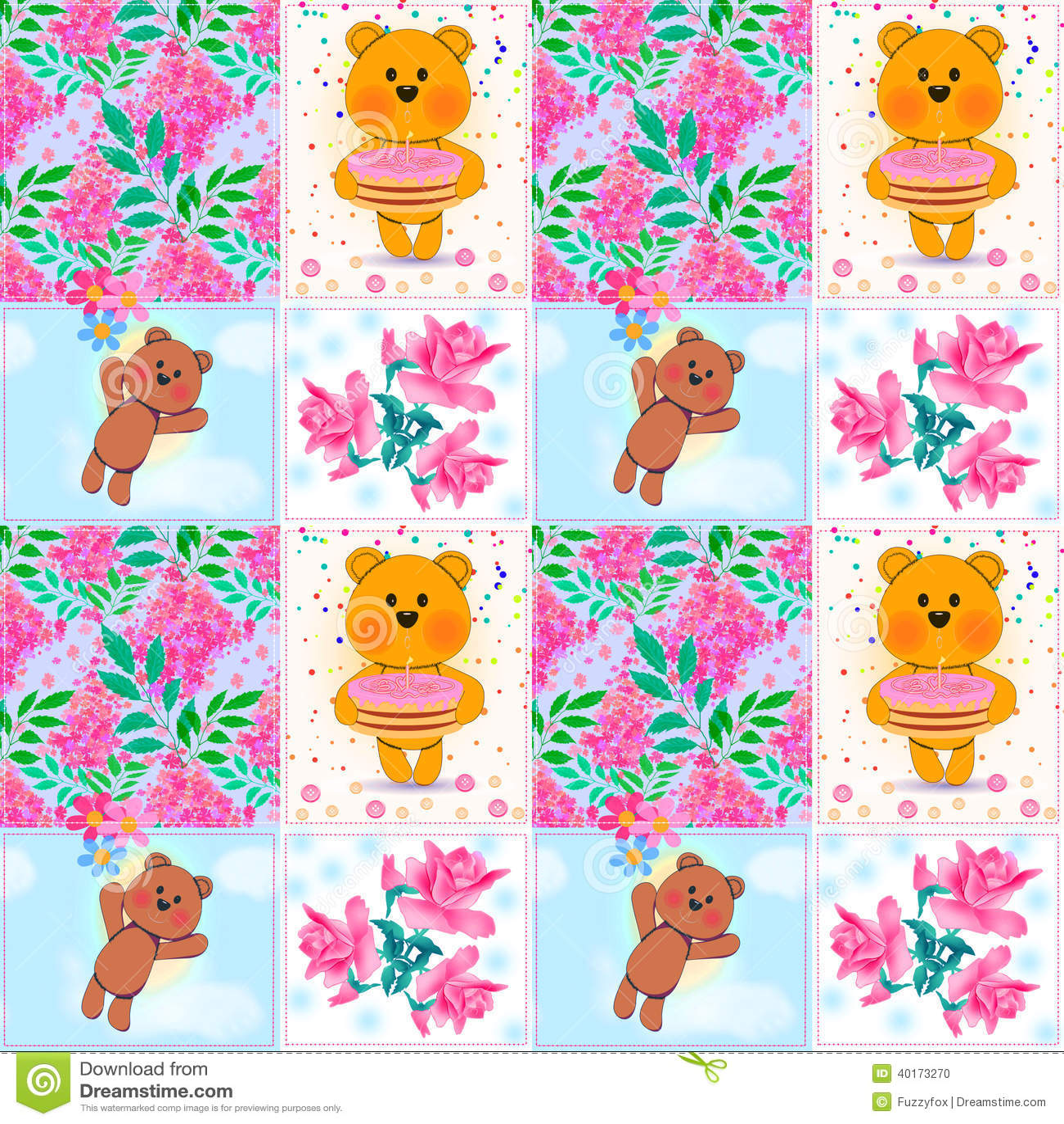 Le patchwork sans couture badine le modèle avec des ours de nounours