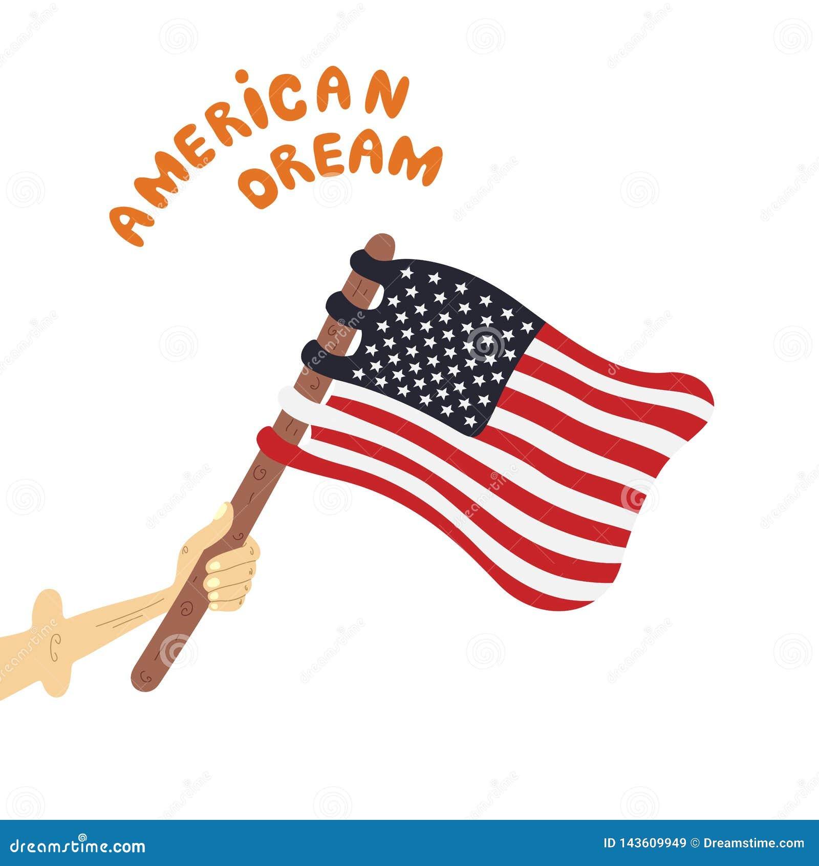 Le patriote tient le drapeau des Etats-Unis