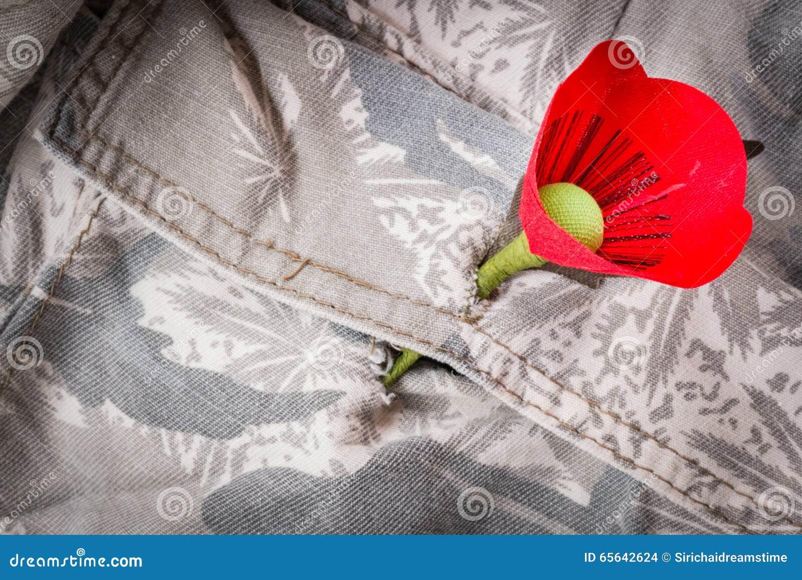 Le pavot rouge est un symbole de jour de vétérans de la Thaïlande