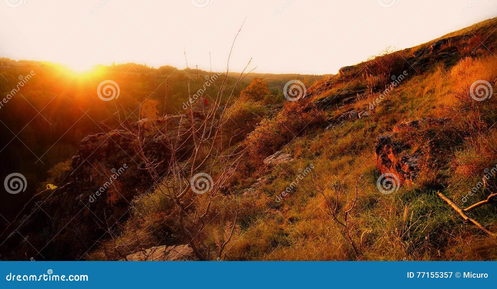Le paysage coloré d automne scen