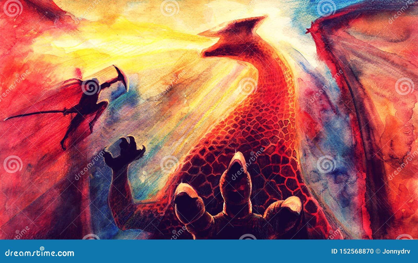 Le Paysage De Peinture D Aquarelle D Imagination Avec Le Dragon Et La Bataille Samourai Japonaise Art Tire Par La Main D Imagina Illustration Stock Illustration Du Japonaise Tire 152568870