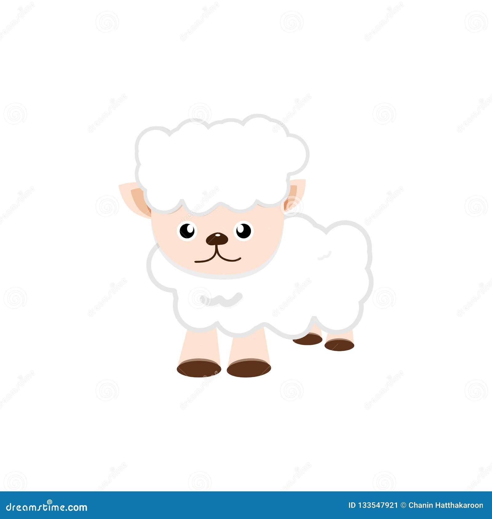 Le pecore, concetto sveglio del personaggio dei cartoni animati hanno isolato il illustrati di vettore