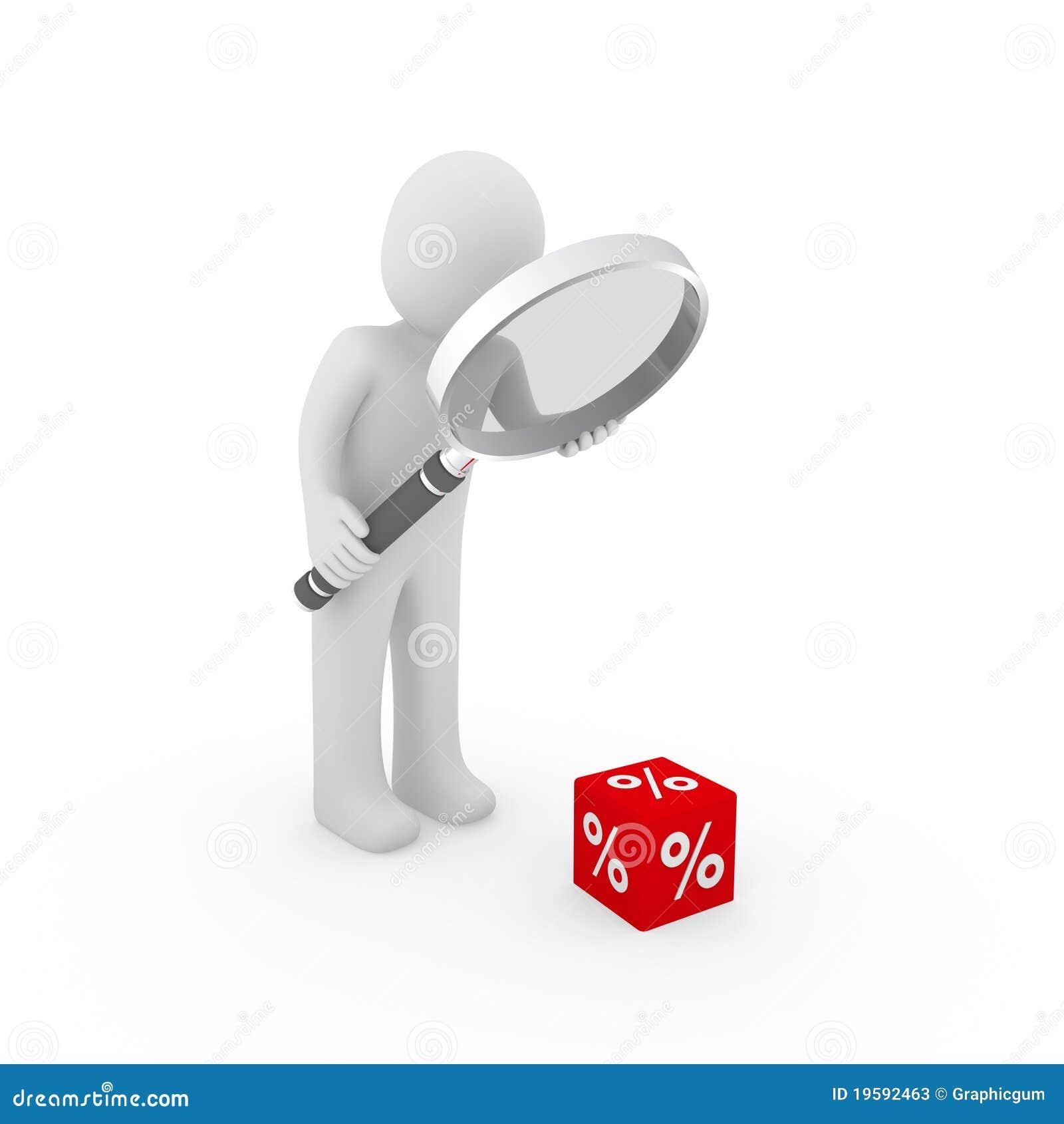 Le percentuali della lente di ingrandimento del cubo di vendita dell 39 uomo 3d illustrazione di - Specchio con lente di ingrandimento ...