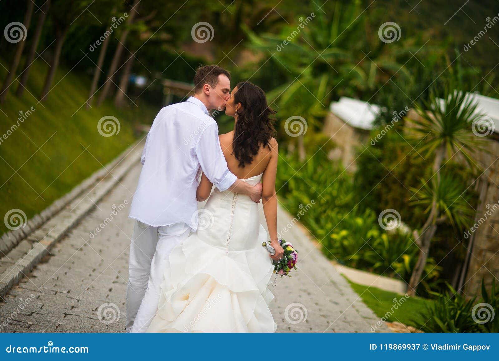 Le persone appena sposate baciano sul vicolo di estate, di nuovo alla macchina fotografica